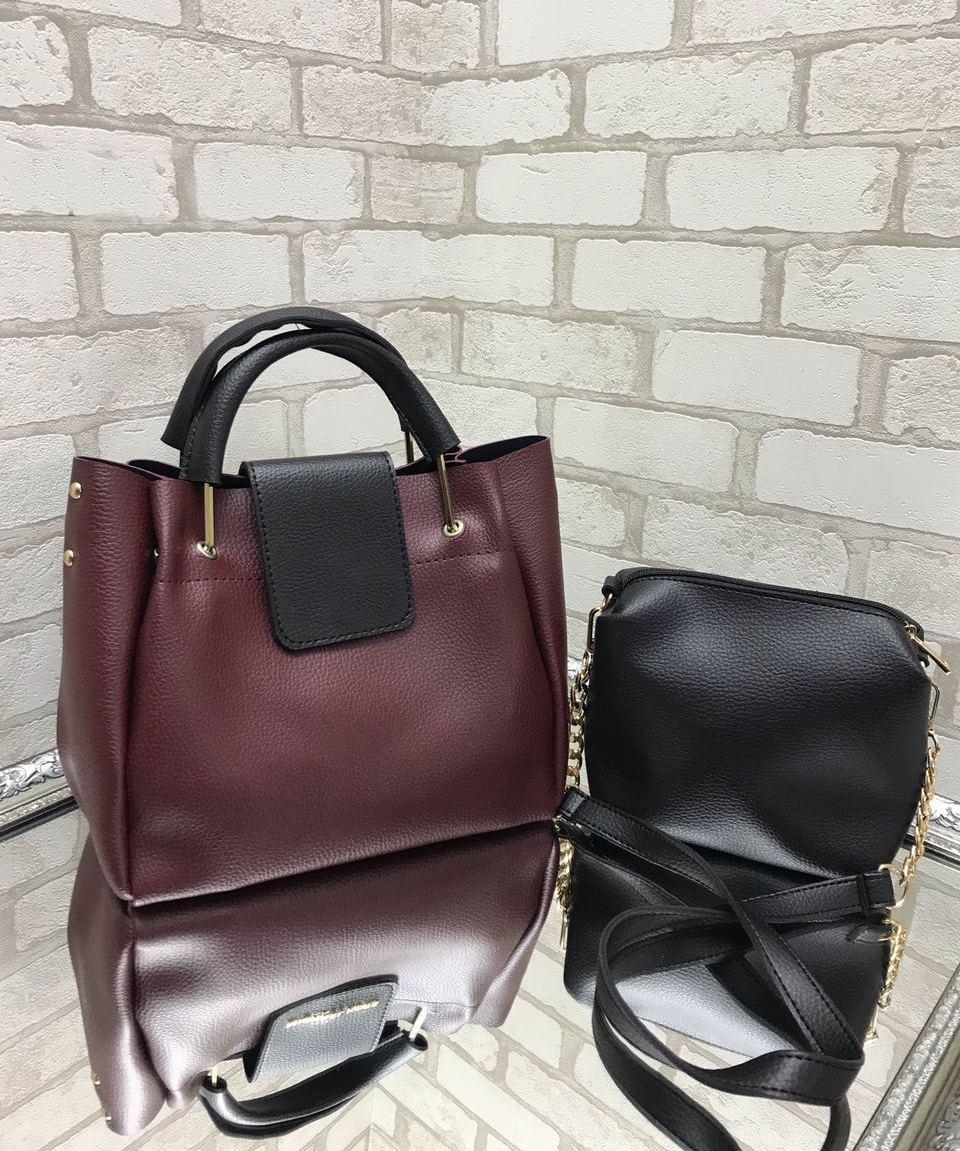 Большая женская сумка на плечо бордовая с косметичкой брендовая набор комплект городская кожзам
