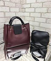 Большая женская сумка на плечо бордовая с косметичкой брендовая набор комплект городская кожзам, фото 1