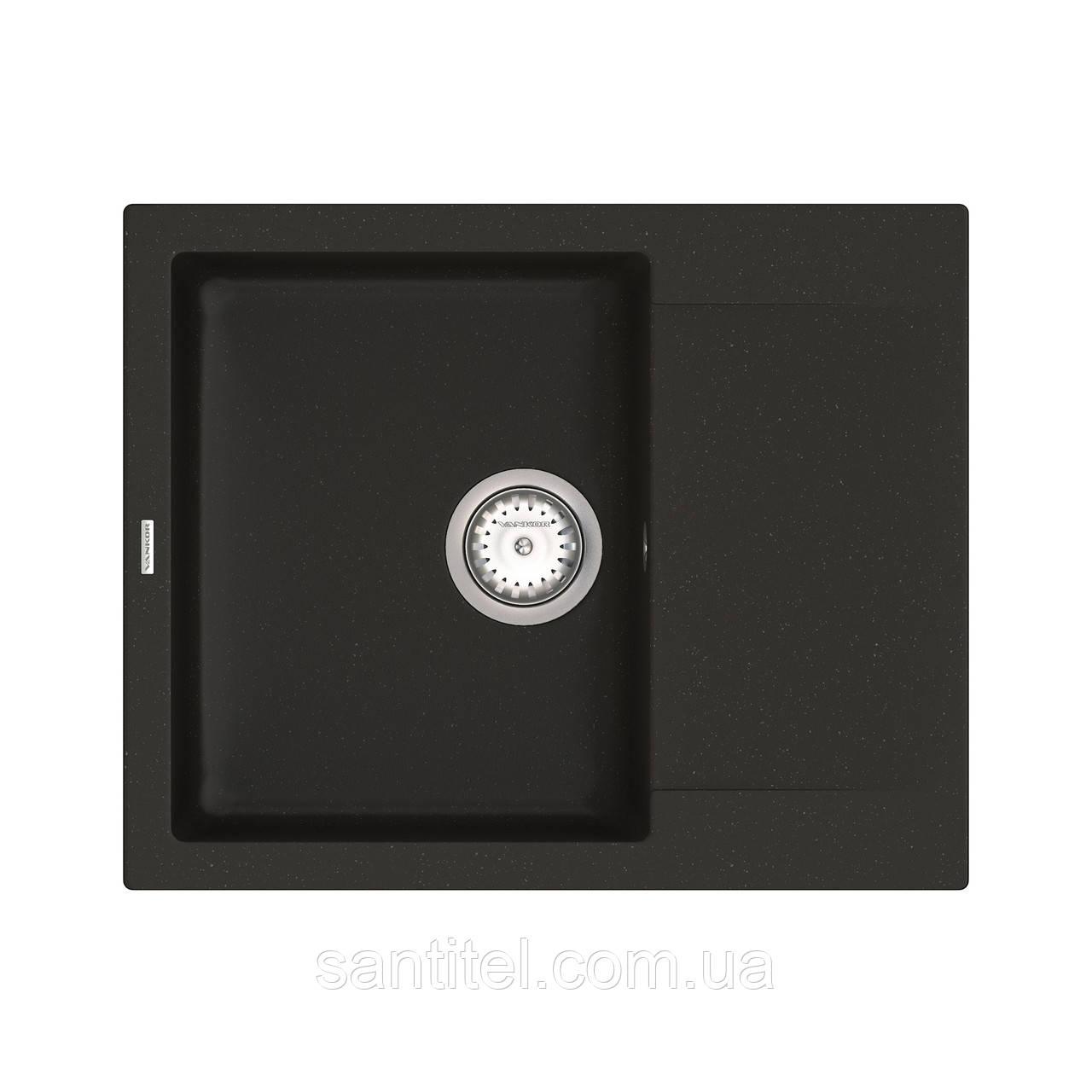 Кухонная мойка VANKOR Orman OMP 02.61 Black + сифон VANKOR