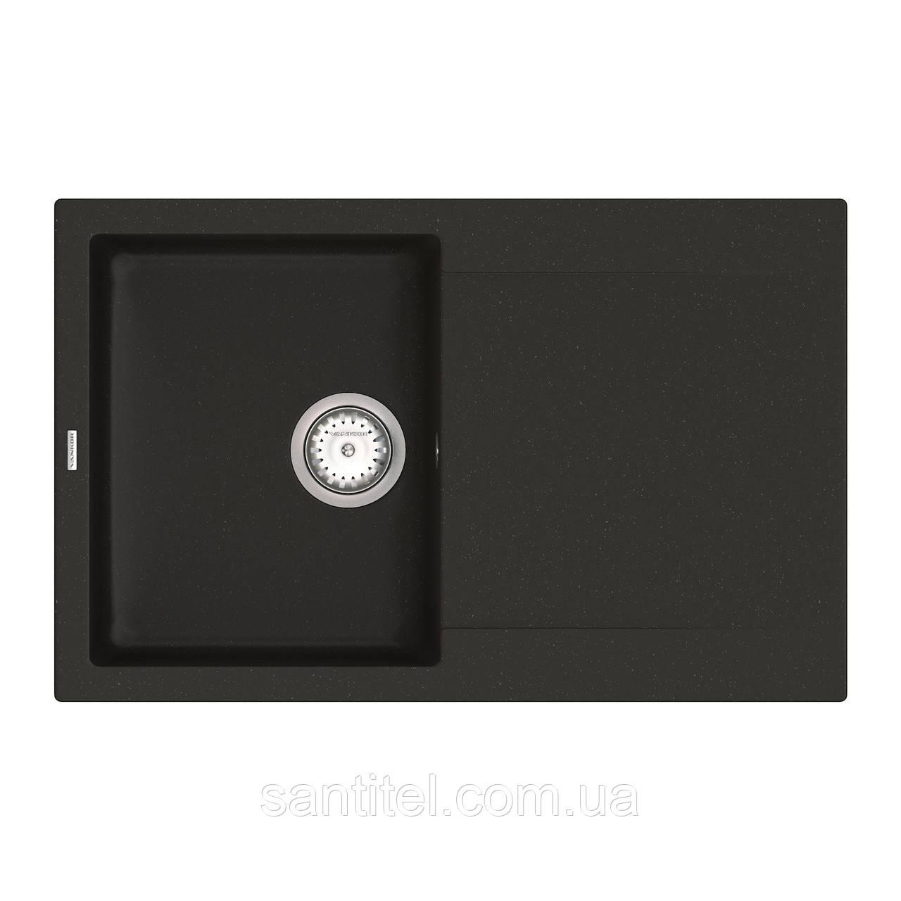 Кухонная мойка VANKOR Orman OMP 02.78 Black + сифон VANKOR