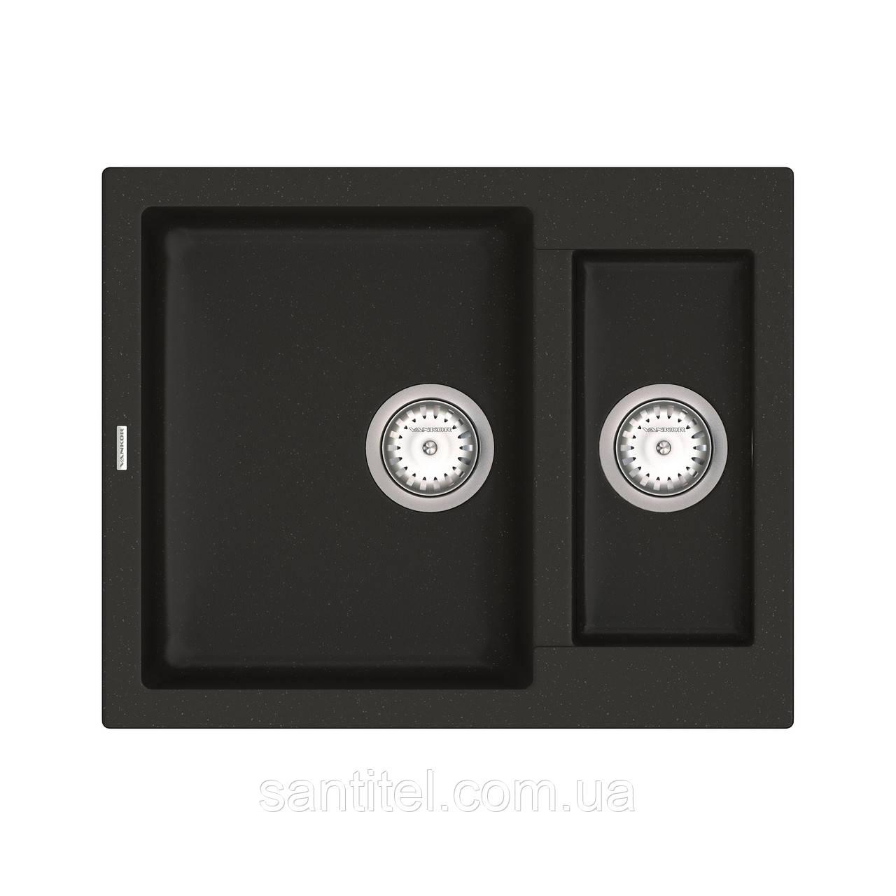 Кухонная мойка VANKOR Orman OMP 03.61 Black + сифон VANKOR