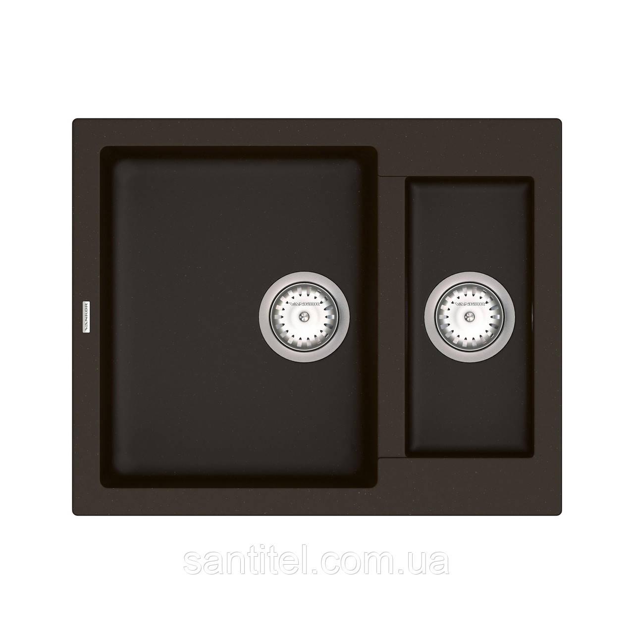 Кухонна мийка VANKOR Orman OMP 03.61 Chocolate + сифон VANKOR