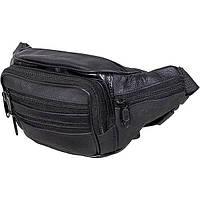 Мужская кожаная сумка на пояс из натуральной кожи NAVIS NV19 черная