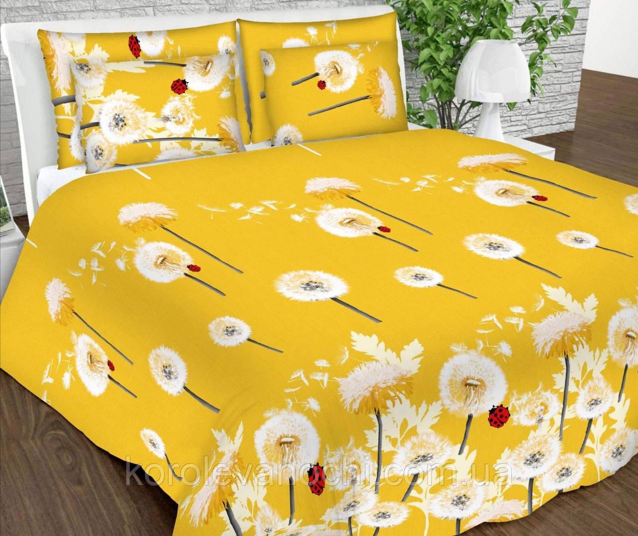 """Евро комплект (Бязь)   Постельное белье от производителя """"Королева Ночи""""   Одуванчики на желтом (Амина)"""