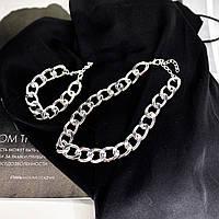 Комплект массивного плетения - цепь на шею + браслет на руку (цвет серебра)