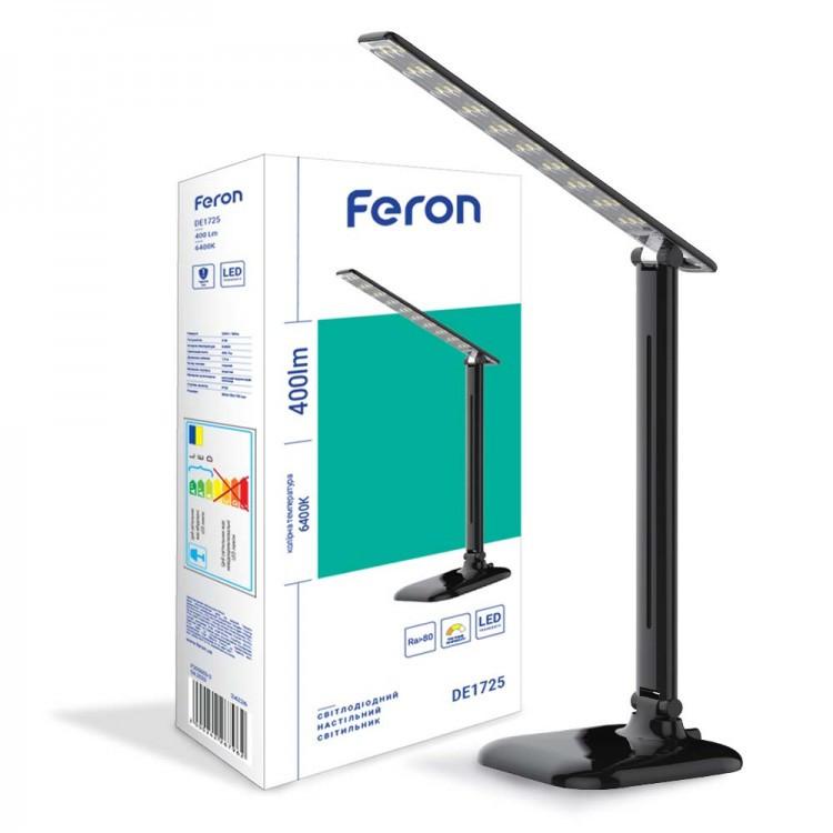 Светильник светодиодный настольный Feron DE1725 9W 4000K черный (29860)