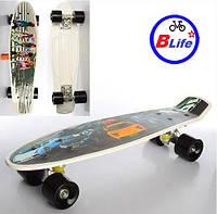 Спортивная доска-скейт для детей Пенни борд/алюминиевая подвеска/Скейт PENNY BOARD/рисунок