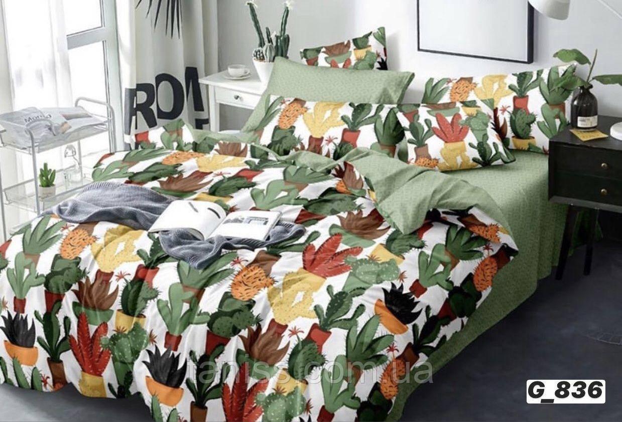 """Полуторный набор постельного белья Бязь """"Gold"""",  расцветка как на фото,  кактусы"""