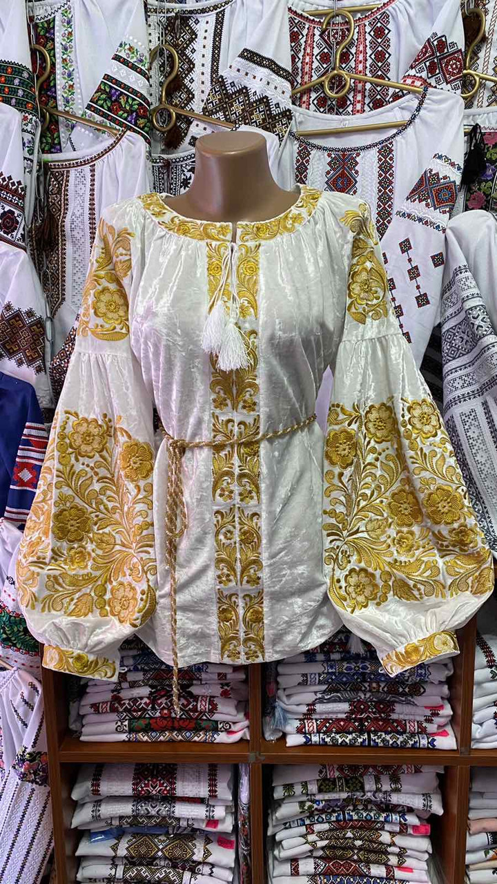 ВЕЛЮРОВА жіноча вишиванка в золоті💥💛⚜️