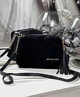 Черная женская сумочка среднего размера через плечо черный натуральная замша+кожзам