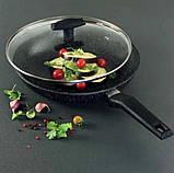 Сковорідка Tiross TS1252P з кришкою 28см і антипригарним покриттям мармур, фото 4
