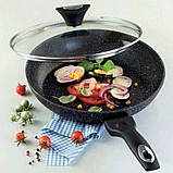 Сковорідка Tiross TS1252P з кришкою 28см і антипригарним покриттям мармур, фото 6