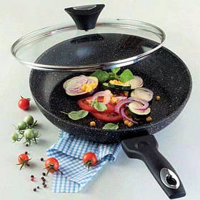 Сковорода универсальная Tiross TS-1255-P 26 см с крышкой и мраморным антипригарным покрытием.