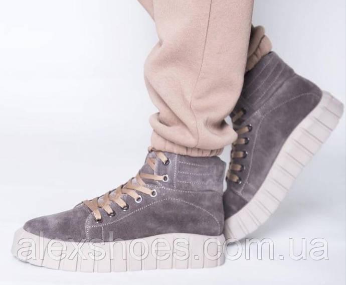 Ботинки молодежные на байке из натуральной замши от производителя модель НИ66-1