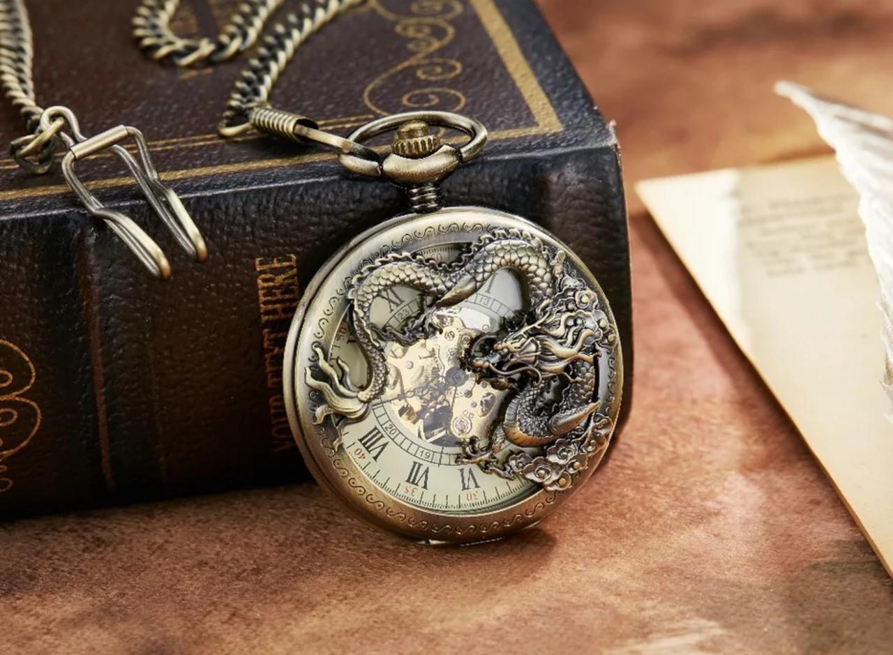 Кишенькові чоловічі годинники механіка з драконом
