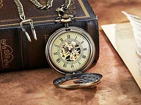 Кишенькові чоловічі годинники механіка з драконом, фото 3