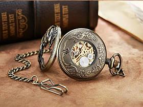 Кишенькові чоловічі годинники механіка з драконом, фото 2