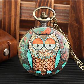 Карманные часы на цепочке сова, фото 2