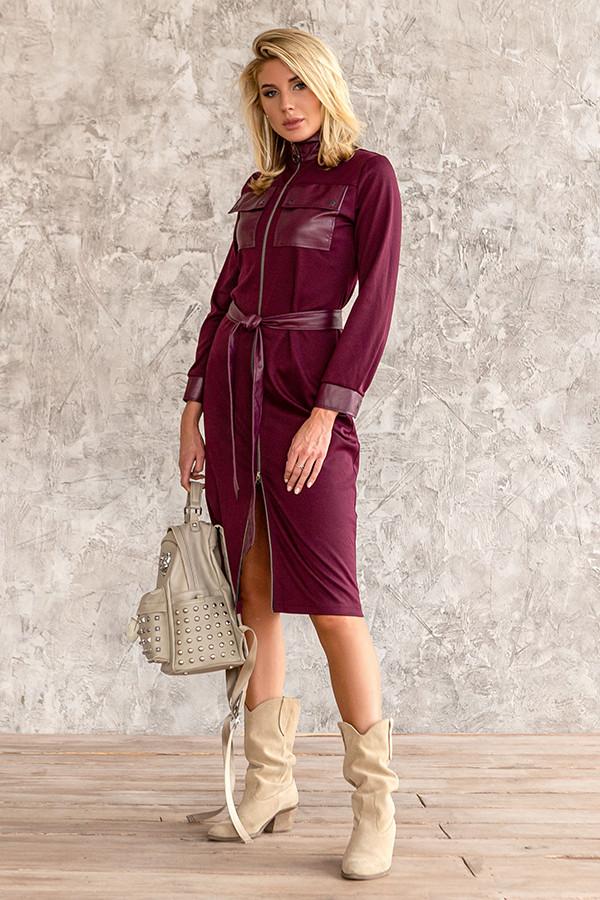 Красиве трикотажне плаття з еко шкірою 44,46,48,50 розмір
