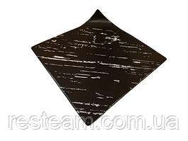 Тарелка квадратная темный камень 21 см