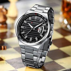 Оригінальні чоловічі годинники сталевий ремінець Curren 8363 Blue-Cuprum / Годинник паління від різних фірм., фото 2