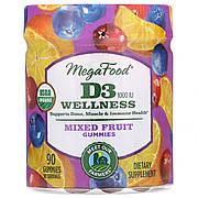 Витамин D3, 1000 IU, Wellness, вкус фруктов, MegaFood, 90 желейных конфет