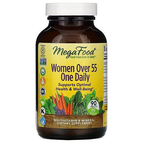 Мультивитамины для женщин 55+, Women Over 55 One Daily, MegaFood, 90 таблеток, фото 2