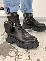 Ботинки женские кожаные черные с кармашком-кошельком, фото 1