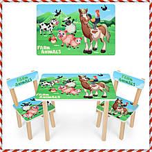 Детский деревянный столик и 2 стульчика Ферма 501-85