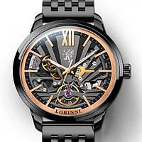 Оригинальные механические мужские часы Lobinni Secret черные, элитные наручные часы с автоподзаводом 25 камней