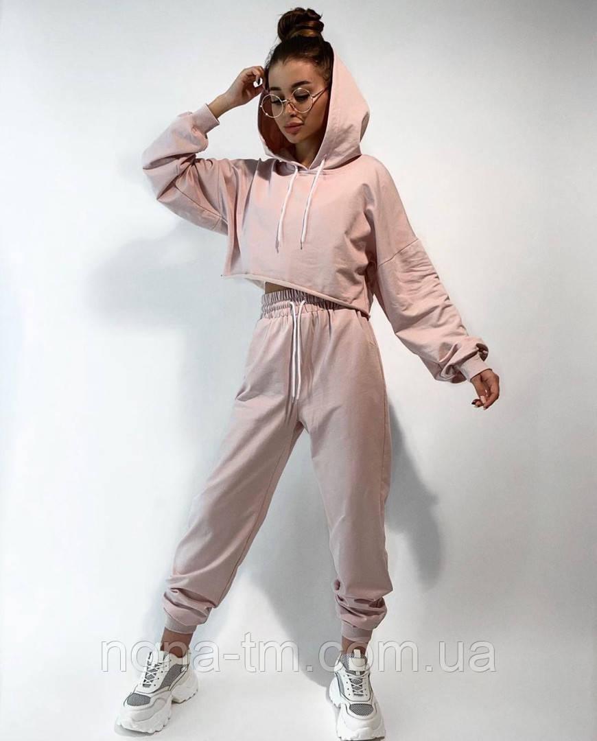 Женский костюм спортивный со штанами на высокой посадке и кофтой свободного кроя (Норма)