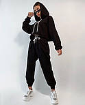 Женский костюм спортивный со штанами на высокой посадке и кофтой свободного кроя (Норма), фото 4