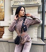 Велюровый женский спортивный костюм с укороченной кофтой (Норма)