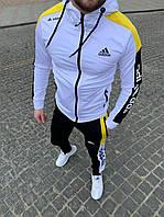 ХИТ ВЕСНЫ. Спортивный мужской костюм Adidas (штаны+олимпийка) белого цвета.95% хлопок.Сезон Весна-Осень