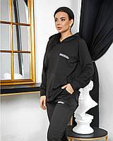 Женский стильный спортивный костюм с капюшоном и надписями (Норма и батал), фото 8