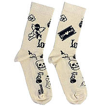 """Шкарпетки Дід Носкарь чоловічі 41-45 """"Old School Tattoo"""" бежеві"""