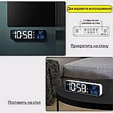 Настінний електронний годинник з термометром і календарем. Настільний електронний годинник акумулятор., фото 2