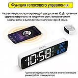 Настінний електронний годинник з термометром і календарем. Настільний електронний годинник акумулятор., фото 3