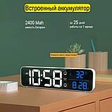 Настінний електронний годинник з термометром і календарем. Настільний електронний годинник акумулятор., фото 4