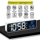 Настінний електронний годинник з термометром і календарем. Настільний електронний годинник акумулятор., фото 5