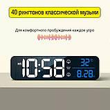Настінний електронний годинник з термометром і календарем. Настільний електронний годинник акумулятор., фото 6