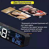Настінний електронний годинник з термометром і календарем. Настільний електронний годинник акумулятор., фото 7