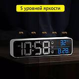 Настінний електронний годинник з термометром і календарем. Настільний електронний годинник акумулятор., фото 8