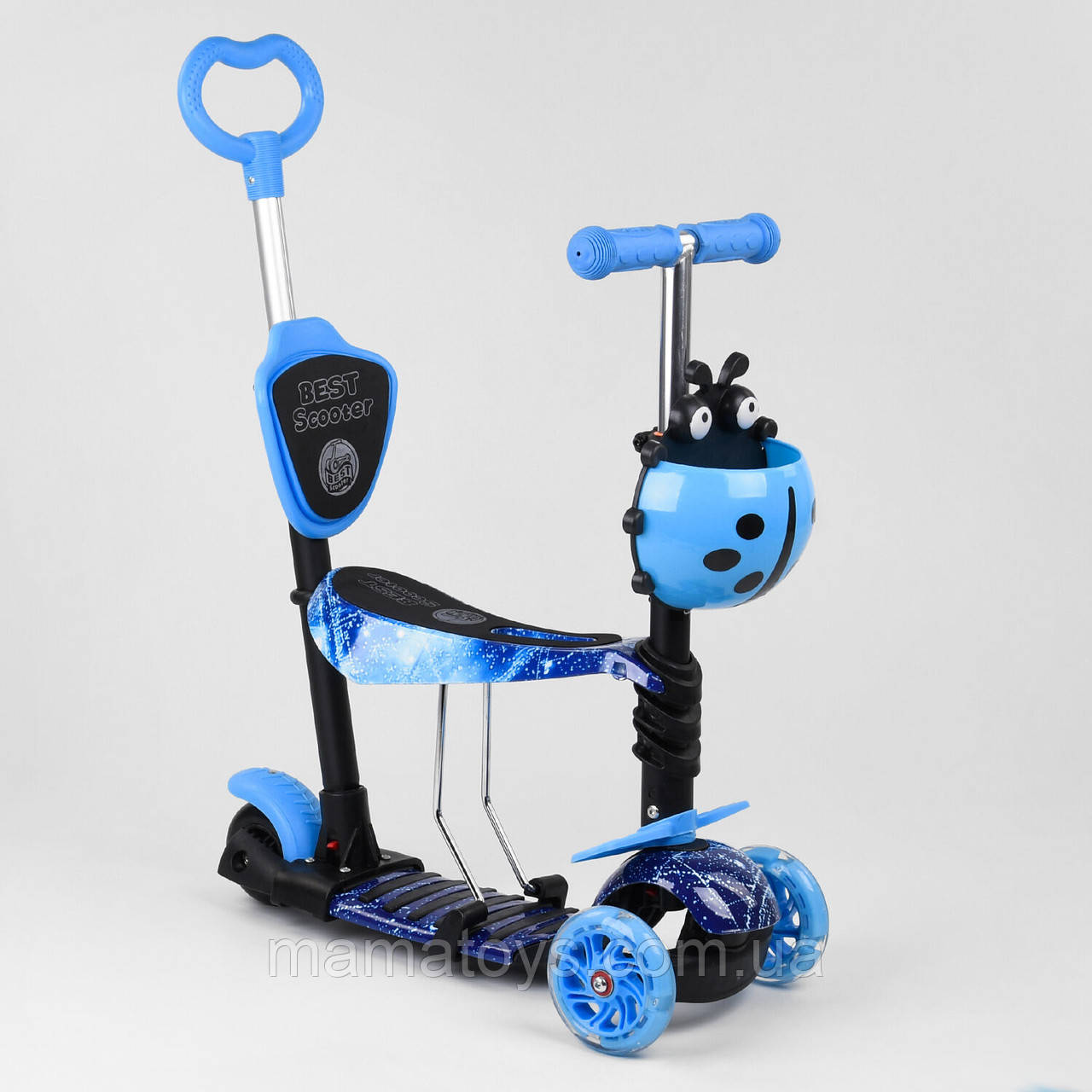 Детский Самокат 10433 Голубой Best Scooter Беговел  5 в 1 с Родительской ручкой, Свет колес