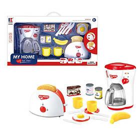 Набор бытовой техники тостер, кофеварка, посуда, продукты, бат, в кор-ке,