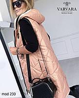Женская демисезонная стеганая жилетка с капюшоном (Батал), фото 5
