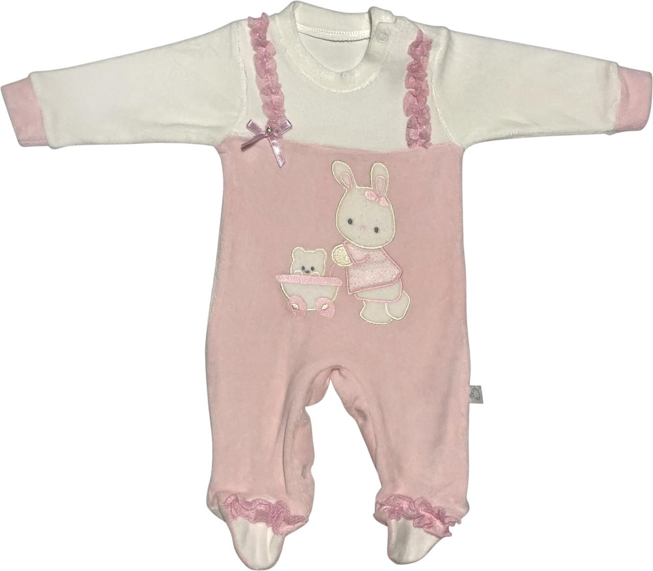 Человечек на девочку рост 62 2-3 мес для новорожденных малышей слип детский велюровый розовый