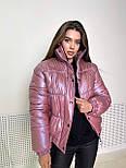 Женская куртка перламутровая короткая зимняя с воротником стойкой (р. 42-48) 1701583, фото 5