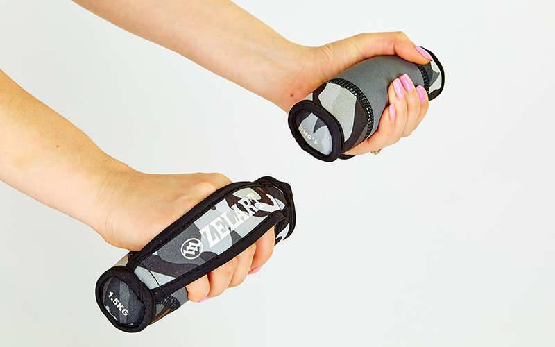 Гантели для фитнеса с мягкими накладками Zelart (2x1,5кг) (2шт, наполнитель-метал.шарики, серый каму