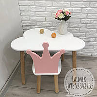 Детский столик и стульчик Корона (детский стульчик, детская мебель, стул корона)